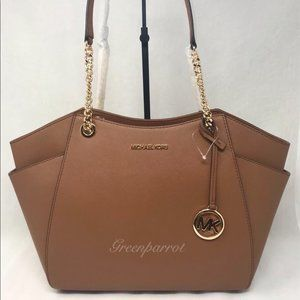 Michael Kors jet set large chain tote brown bag